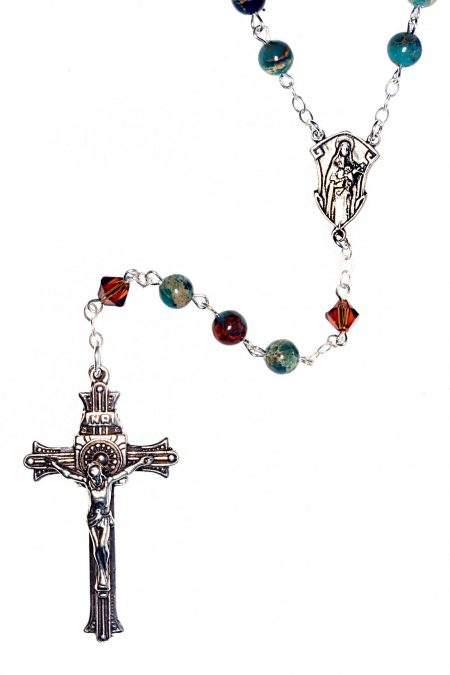 African Green Opal Gemstone Sterling Silver Rosary