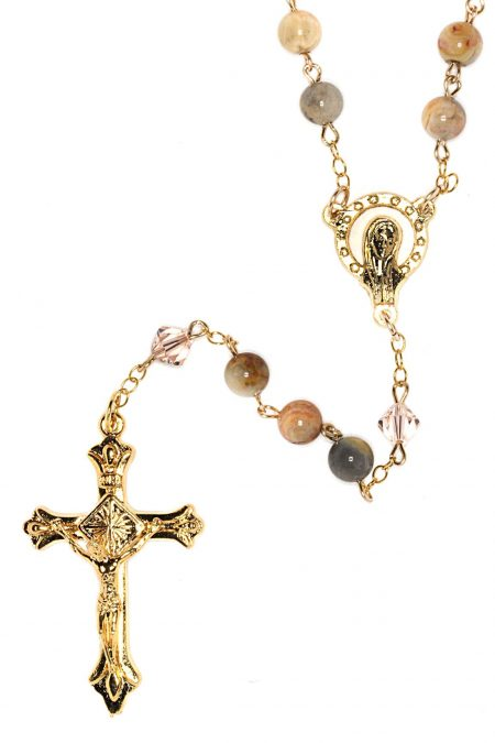 Agate Gemstone Rosary (Gold)