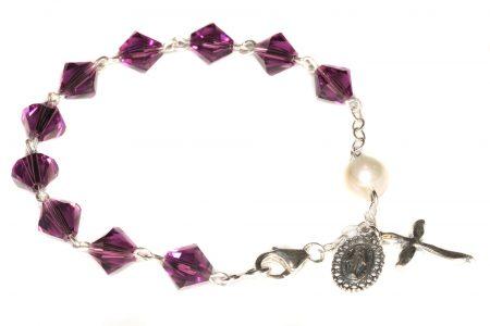 Amethyst Swarovski Crystal Rosary Bracelet (February)