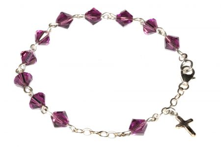 Amethyst Swarovski Crystal Child Rosary Bracelet-February