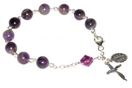 Amethyst Gemstone Rosary Bracelet (February)