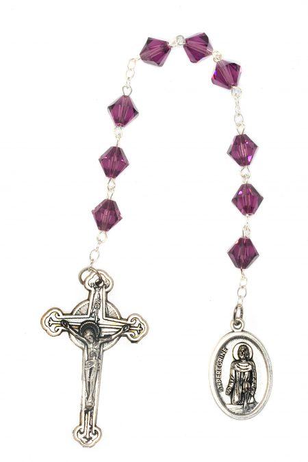 Amethyst Swarovski Crystal St. Peregrine Chaplet-February