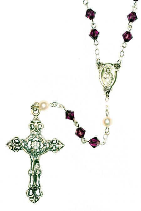 Amethyst Swarovski Crystal Sterling Silver Rosary (Feb)