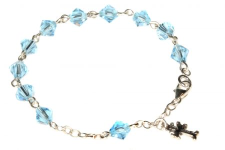 Aquamarine Swarovski Crystal Child Rosary Bracelet (March)