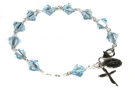 Aquamarine Swarovski Crystal Rosary Bracelet (March)