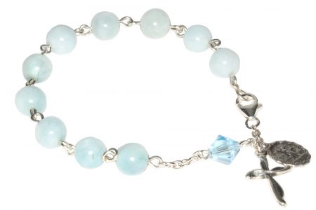 Aquamarine Gemstone Rosary Bracelet (March)