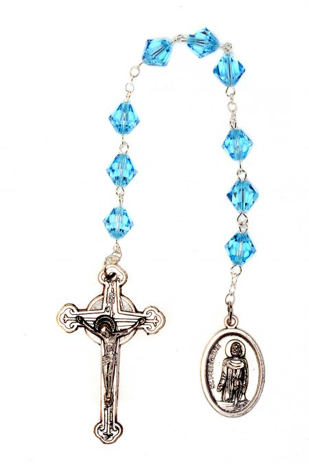 Aquamarine Swarovski Crystal St. Peregrine Chaplet (March)