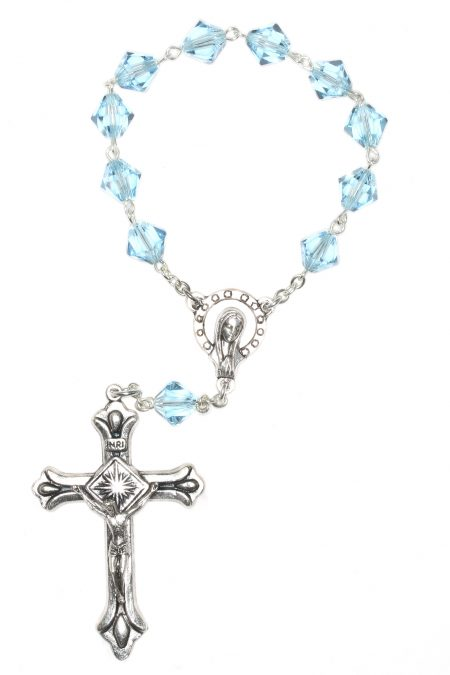 Aquamarine Swarovski Pocket or Auto Rosary (March)