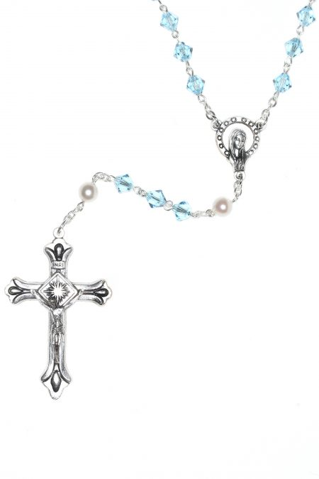 Aquamarine Rosary made with Swarovski Crystals (March)