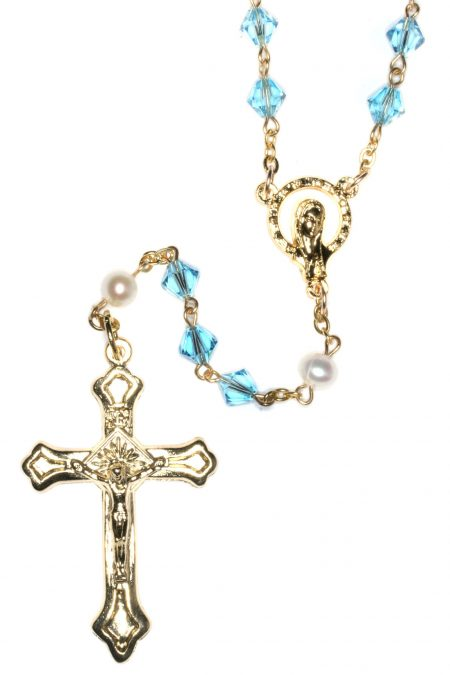 Aquamarine Rosary made with Swarovski Crystals - Gold (March)