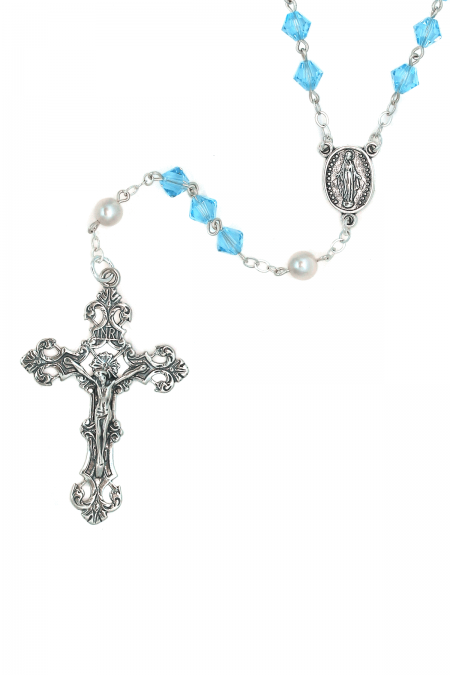 Aquamarine Sterling Silver Rosary made with Swarovski Crystals (March)