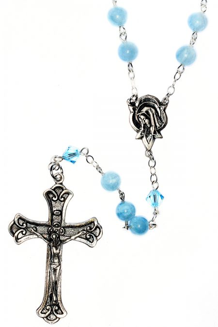 Aquamarine Gemstone Sterling Silver Rosary (March)