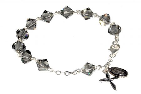 Black Diamond Colored Swarovski Crystal Rosary Bracelet