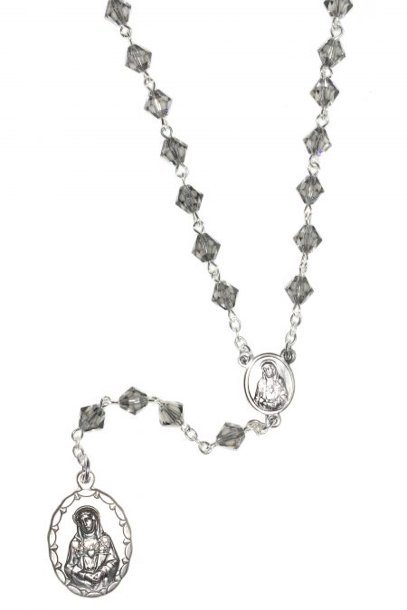 Black Diamond Seven Sorrows Rosary made with Swarovski Crystal s
