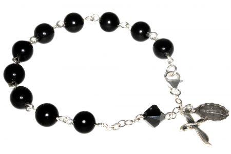 Black Onyx Gemstone Rosary Bracelet