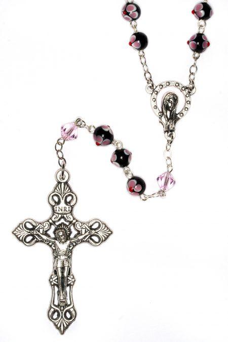 Black/Pink Ceramic Floral Rosary