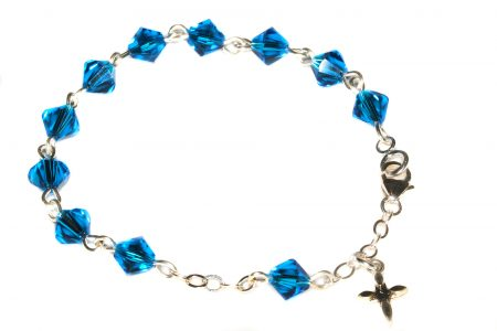 Capri Blue Swarovski Crystal Child Rosary Bracelet