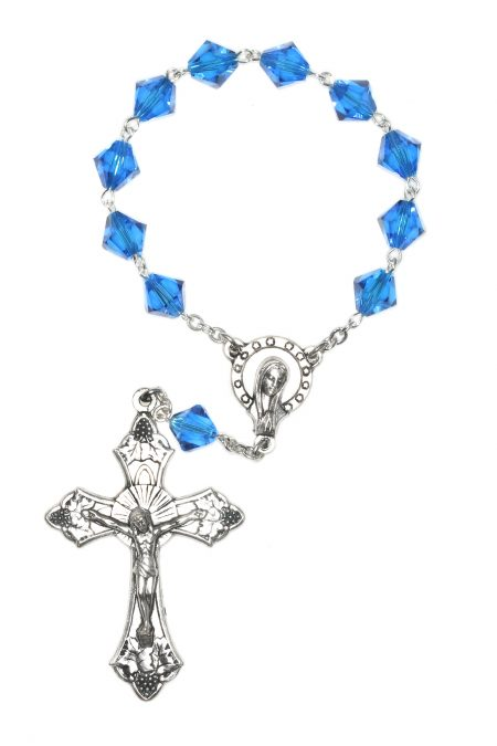 Capri Blue One Decade Pocket or Auto Rosary made with Swarovski Crystals
