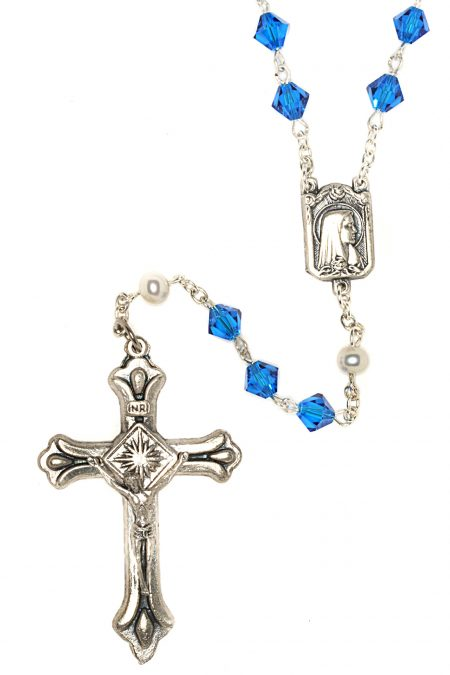 Capri Blue  Rosary made with Swarovski Crystals