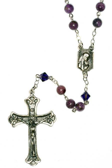 Charoite Gemstone Sterling Silver Rosary