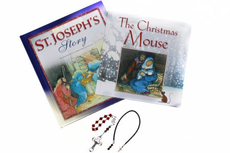 Children's Christmas Gift: Two Christmas Books, Rosary, Bookmark