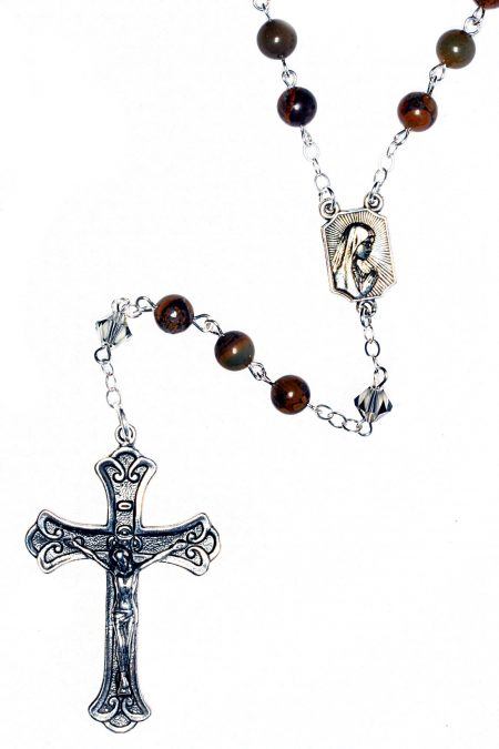 Chrysanthemum Gemstone Sterling Silver Rosary