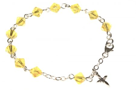 Citrine Yellow Swarovski Crystal Child Rosary Bracelet