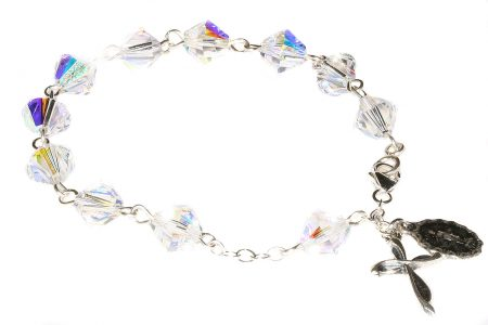 Clear AB Swarovski Crystal Sterling Silver Rosary Bracelet (April)