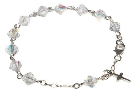 Clear AB Swarovski Crystal Child Rosary Bracelet (April)