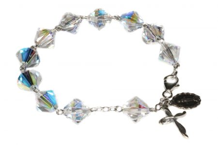 Clear AB Large Swarovski Crystal Rosary Bracelet (April)
