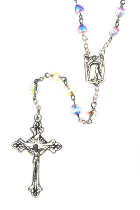 Clear Glass Heart Rosary