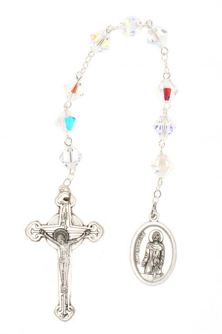 Clear AB Swarovski Crystal St. Peregrine Chaplet (April)