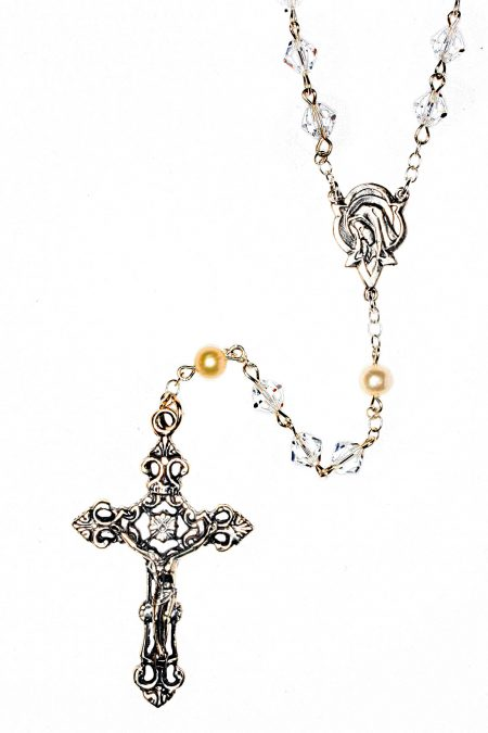 Clear AB High Quality Central European Crystal Sterling Silver Rosary (April)