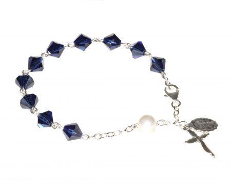 Dark Indigo Swarovski Crystal Rosary Bracelet