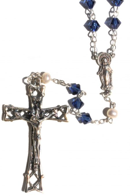 Dark Indigo Blue Sterling Silver Rosary made with Swarovski Crystals and Freshwater Pearls