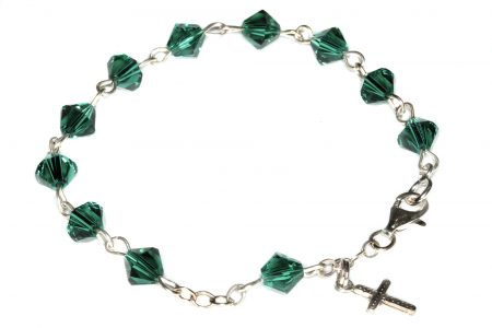 Emerald Swarovski Crystal Child Rosary Bracelet (May)