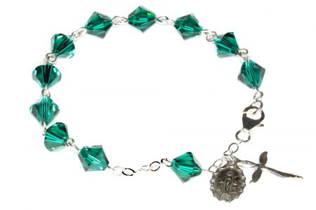 Emerald Swarovski Crystal Rosary Bracelet (May)