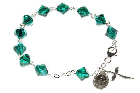 Emerald Swarovski Crystal Rosary Bracelet (May)
