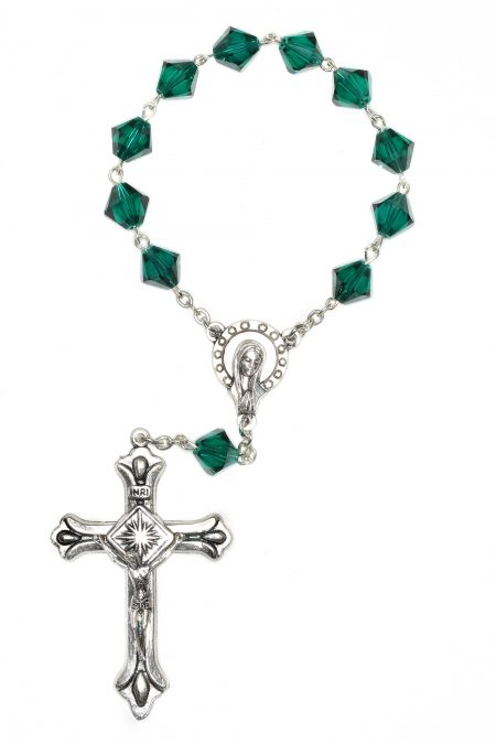 Emerald Swarovski Pocket or Auto Rosary (May)