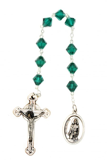 Emerald Swarovski Crystal St. Peregrine Chaplet (May)