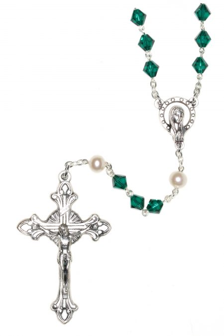 Emerald Rosary made with Swarovski Crystals (May)
