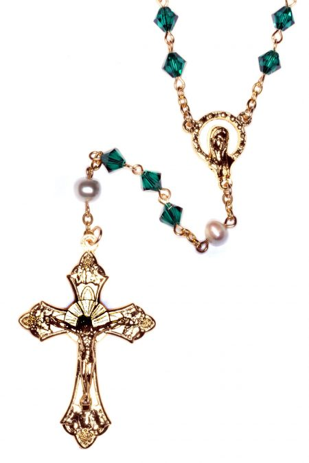 Emerald Rosary made with Swarovski Crystals - Gold (May)
