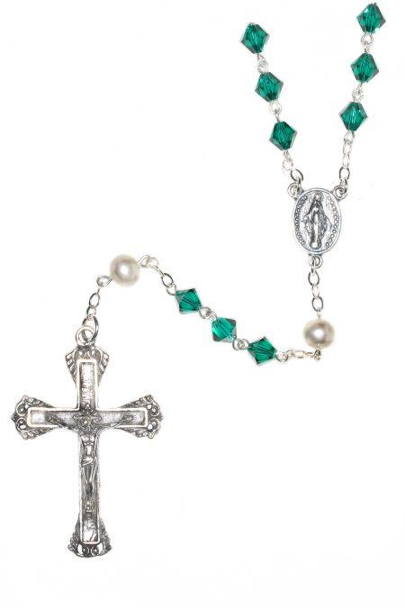 Emerald Swarovski Crystal Sterling Silver Rosary (May)