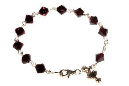 Garnet Swarovski Crystal Child Rosary Bracelet (January)