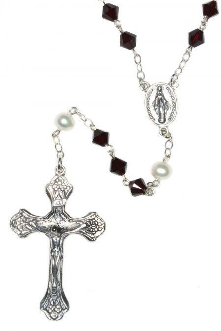 Garnet Swarovski Crystal Sterling Silver Rosary (January)