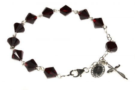Garnet Swarovski Crystal Rosary Bracelet (January)