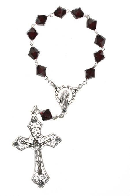 Garnet Swarovski Crystal Pocket or Auto Rosary (January)