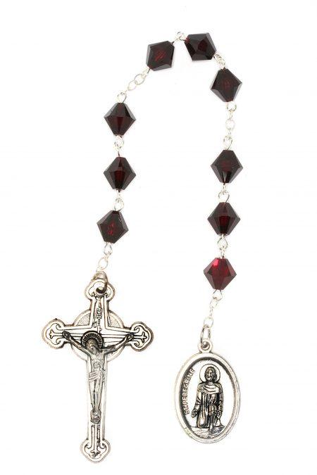 Garnet Swarovski Crystal St. Peregrine Chaplet (January)