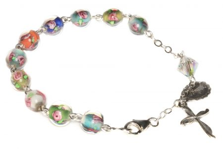 Multi-colored Glass Floral Rosary Bracelet