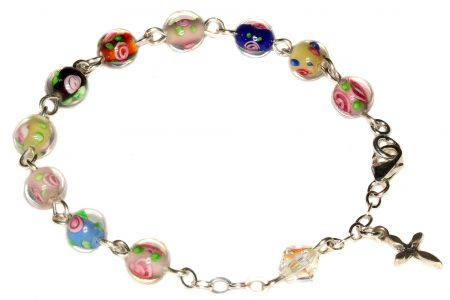 Multi-Colored Glass Floral Rosary Bracelet - Child